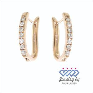 Natural Diamond Fancy Huggies Earrings Rose Gold
